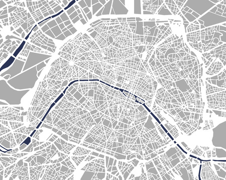 Map of the city of Paris, France Ilustração