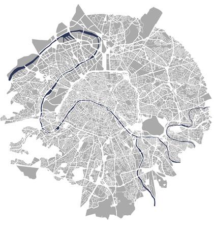 Map of the city of Paris, France 矢量图像