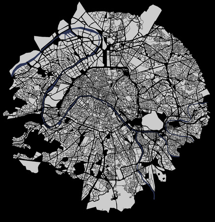 Map of the city of Paris, France Vectores