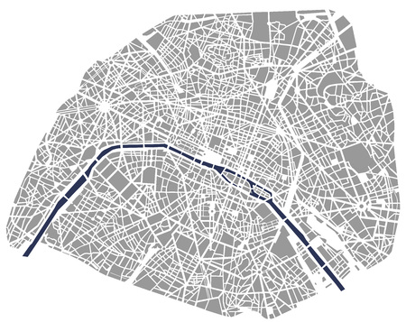 Map of the city of Paris, France Çizim