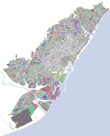 Map of the city of Barcelona, Spain Illustration