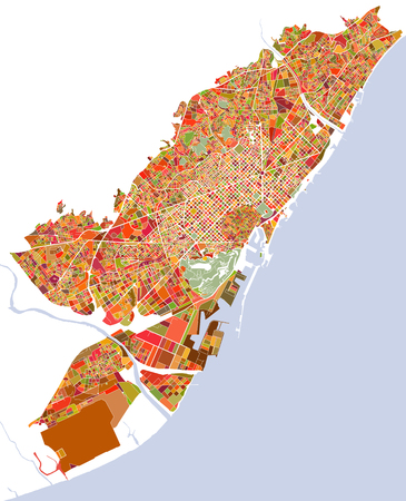 Map of the city of Barcelona, Spain Ilustração