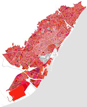 barcelona: Map of the city of Barcelona, Spain Illustration