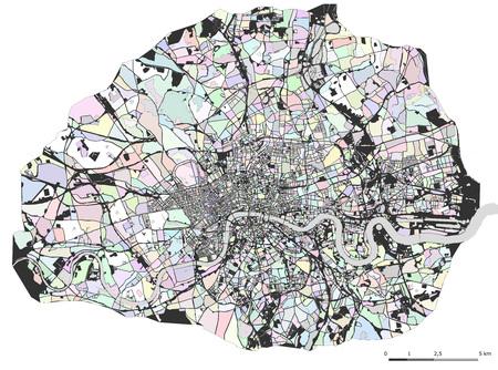벡터 여러 가지 빛깔의지도 도시 런던, 영국