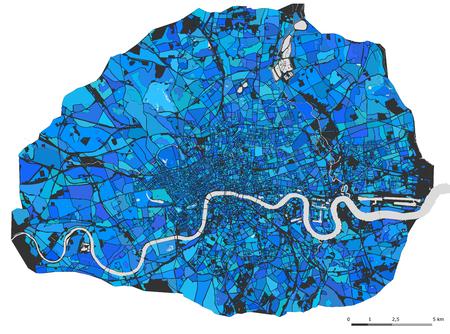 벡터 여러 가지 빛깔의지도 도시 런던, 영국 스톡 콘텐츠 - 78341168