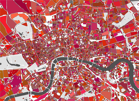vector multicolor map of the city of London, Great Britain Ilustração