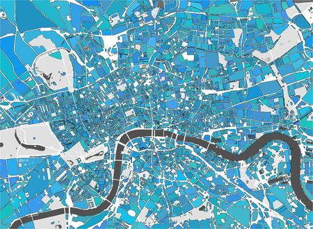 vector multicolor map of the city of London, Great Britain Illustration