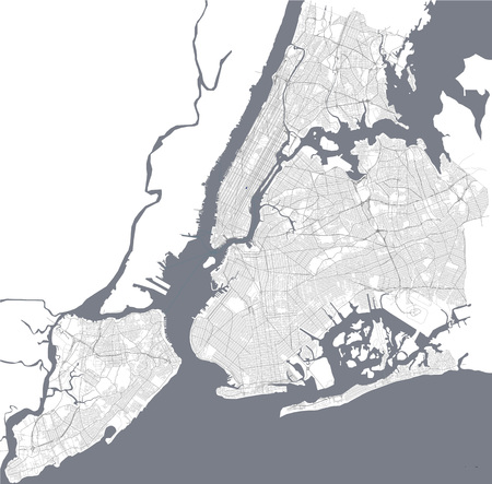 Map of the New York City, NY, USA Illustration