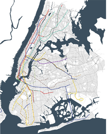 map metro of the New York City, NY, USA