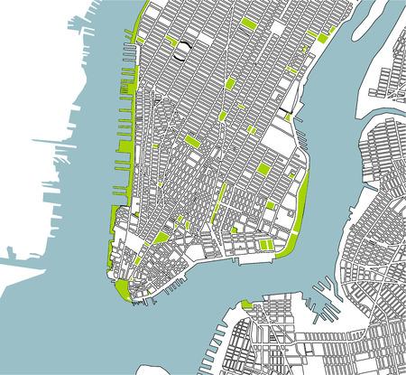 Map of the New York City, NY, USA Illustration