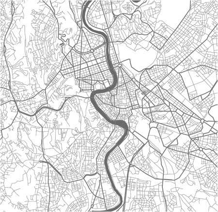 Vector map of the city of Rome, Italy.