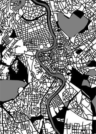 Mappa vettoriale della città di Roma, Italia.