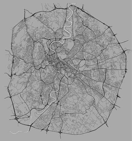 Mappa vettoriale della città di Roma, Italia Vettoriali