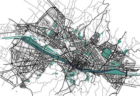 피렌체, 이탈리아의 도시지도 일러스트