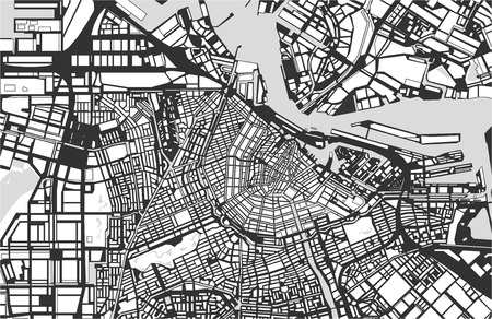 Stad Kaart van Amsterdam, Nederland Stockfoto - 85116709