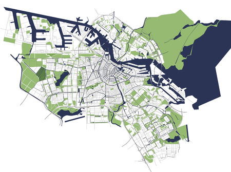 City Map of Amsterdam, Netherlands