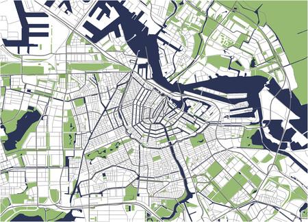 Stad Kaart van Amsterdam, Nederland Stock Illustratie