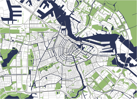 Stad Kaart van Amsterdam, Nederland Stockfoto - 85116714