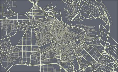 Stad Kaart van Amsterdam, Nederland Vector Illustratie