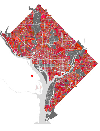 west river: map of the city of Washington, D.C., USA
