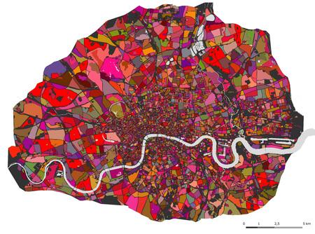 그림 도시의 런던, 영국의 여러 가지 빛깔의지도
