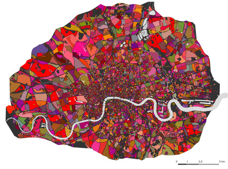 illustration multicolor map of the city of London, Great Britain