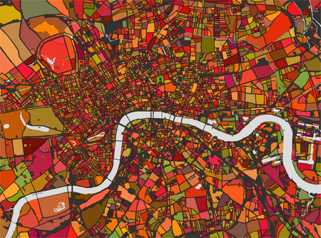 britannia: illustration multicolor map of the city of London, Great Britain