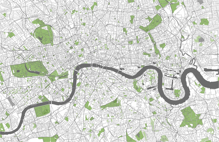 vector map of the city of London, Great Britain