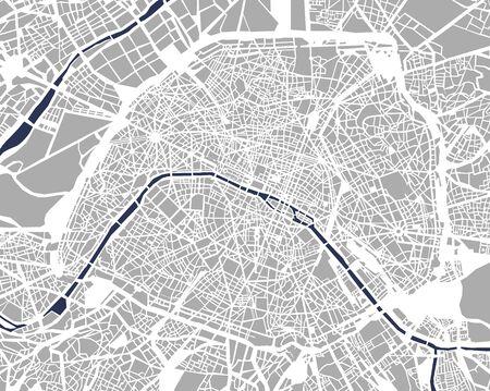 illustratie kaart van de stad Parijs, Frankrijk Stockfoto