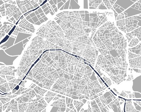 illustration map of the city of Paris, France
