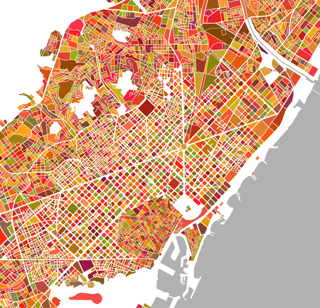 illustration map of the city of Barcelona, Spain Catalonia Foto de archivo