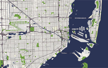 Map of the city of Miami, USA vector illustration.  イラスト・ベクター素材