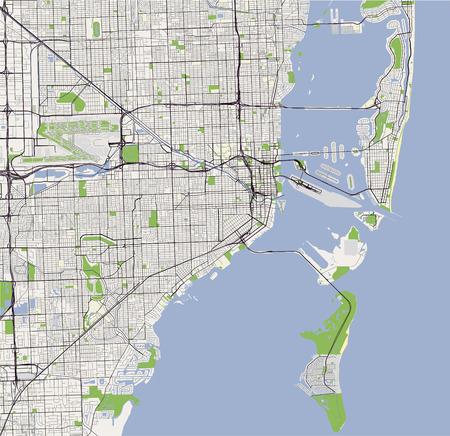米国マイアミ市のベクトルマップ