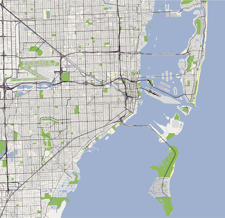 Vector map of the city of Miami, USA