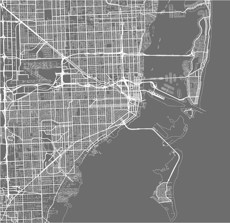 Map of the city of Miami, USA vector illustration. Çizim