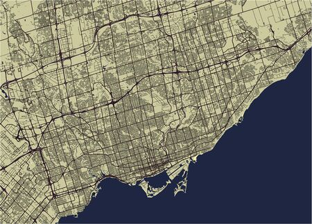 Map of the city of Toronto, Canada vector illustration.
