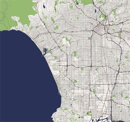 map of the city of Los Angeles, USA Vectores
