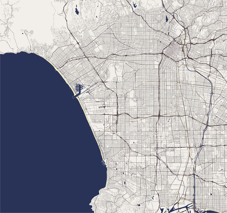 map of the city of Los Angeles, USA Illustration