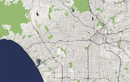 map of the city of Los Angeles, USA Stock Illustratie