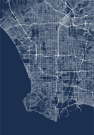 kaart van de stad Los Angeles, Verenigde Staten Stock Illustratie
