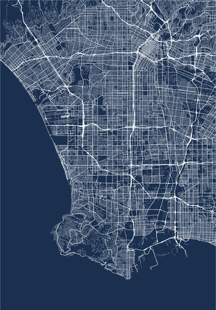 map of the city of Los Angeles, USA 向量圖像