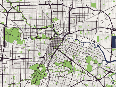 Map of the city of Houston US state of Texas vector illustration