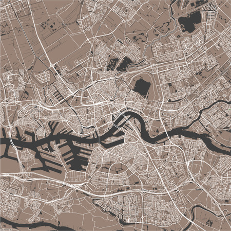 map of the city of Rotterdam, in South Holland, Netherlands Illustration
