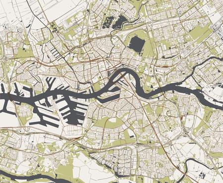 kaart van de stad Rotterdam, in Zuid-Holland, Nederland Vector Illustratie