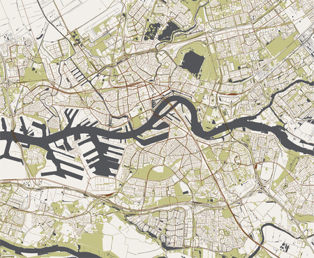 map of the city of Rotterdam, in South Holland, Netherlands Çizim