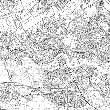 map of the city of Rotterdam, in South Holland, Netherlands Vectores