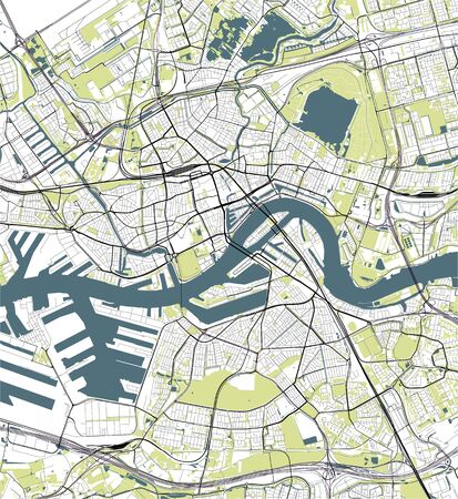 vector map of the city of Rotterdam, in South Holland, Netherlands