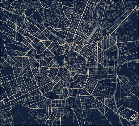 Map of the city of Milan, capital of Lombardy, Italy. Illustration