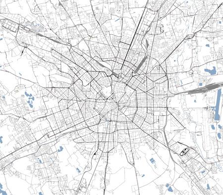 kaart van de stad Milaan, hoofdstad van Lombardije, Italië