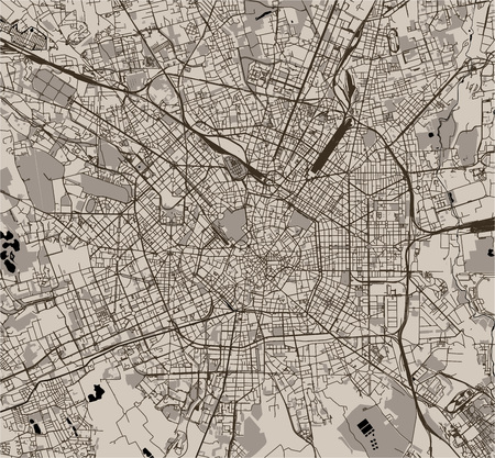 map of the city of Milan, capital of Lombardy, Italy